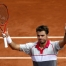 Stan Wawrinka of Switzerland celebrates after beating Steve Johnson of the U.S. during their men's singles match at the French Open tennis tournament at the Roland Garros stadium in Paris, France, May 29, 2015.               REUTERS/Vincent Kessler - RTR4Y1AD